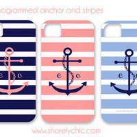 Monogrammed Anchor &amp; Stripes iPhone Cover