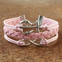 Anchor bracelet - pink infinity bracelet for girls,  unqiue Valentine&#x27;s gift for her
