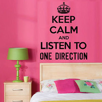 KEEP CALM AND LISTEN TO ONE DIRECTION Vinyl Wall Art Sticker UK TOP SELLER