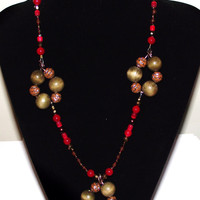 Chunky bold necklace red and toffee brown colors statement unusual