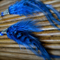 Midnight Blue Real Feather Earrings by BugGirl143 on Etsy