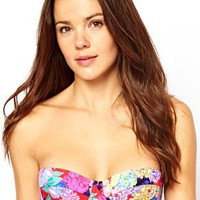 ASOS Penelope Floral Padded Longline Bikini Top at asos.com