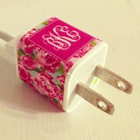 Lilly Pulitzer Monogrammed IPhone Charger Sticker by PreppyinPink3