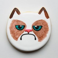 Grumpy Cat Gift Box - 4 Cookies - MADE TO ORDER
