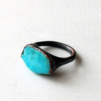 Copper Ring Turquoise December Birthstone by MidwestAlchemy