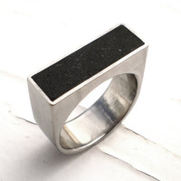 Black Ring Ebony Concrete and Stainless Steel Chunky by DrCraze