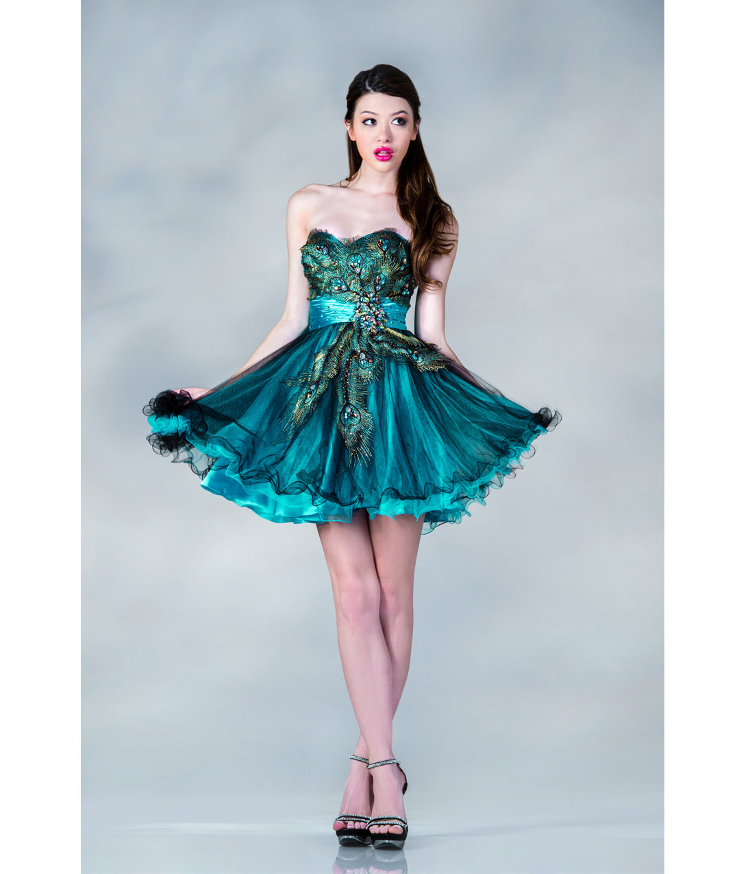 2013 prom dresses teal peacock feather from unique vintage