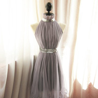 Soft Mauve Grayish Lavender Purple Miss Havisham Alice in Wonderland Marie Antoinette Secret Garden Twilight Elegant Madmen Flare Dress
