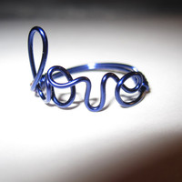 Dark Blue Love Ring Wire Wrapped Unique Gifts Handmade