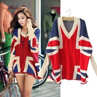Girls Bat sleeves Flag Pattern V neck Loose Knitting Wear oversized Top Sweater