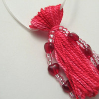 Pink Beaded Tassel with Red Hearts Galore for Valentine's Ornament
