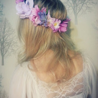SALE  Purple  flower crown. Floral Headdress.Flower Headband. Lana Del Rey style.