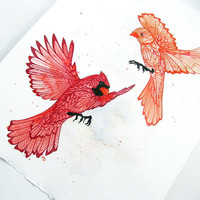 One and Only - Cardinal Illustration - Original Art - Red - Watercolor - Love - Zentangle