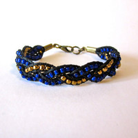 Cobalt Blue and Bronze Braid Bracelet by DevonVivian on Etsy
