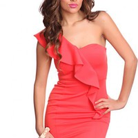 Coral One Shoulder Ruffled Decor Fitted Waist Sexy Party Dress @ Amiclubwear sexy dresses,sexy dress,prom dress,summer dress,spring dress,prom gowns,teens dresses,sexy party wear,women's cocktail dresses,ball dresses,sun dresses,trendy dresses,sweater dre