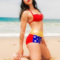 Red Swimsuit - Wonder Woman Swimsuit | UsTrendy