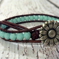 Sunflower Leather Wrap Bracelet, Southwest Chic Leather Wrap Turquoise Bracelet, Boho