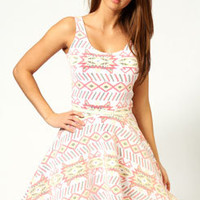 Melissa Multi Aztec Belted Skater Dress