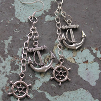 Anchors Away Dangle Nautical Earrings