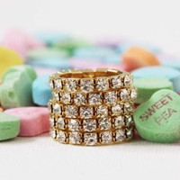 Glittering Stacks Ring in Rhinestone, Sweet Bohemian Jewelry