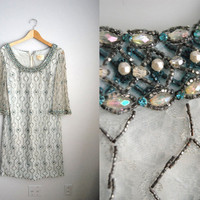 Hollywood Glam - Vintage 50s 60s Blue Beaded Regal Deco Party Shift Dress