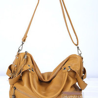 Women Leather Tassel Handbag Shoulder Bags Tote Hobo wO