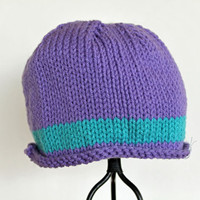 Turquoise and Purple Ribbed Beanie Ready to by SunshineRoseDesign