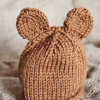 Newborn Bear Ear Hat Ready to Ship by SunshineRoseDesign on Etsy