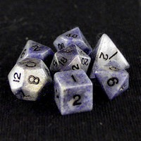 Dwarven Stones Blue Jasper 7 Piece Dice Set with Leather Bag - Accessories