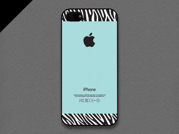 iPhone 5 Case - Zebra pattern on Tiffany teal color - also available in iPhone 4 and iPhone 4S size