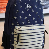 Cute Blue Anchor Backpack on Luulla