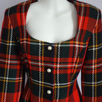 Vintage 1980s Nicole Miller Plaid Button Front by MadMakCloset