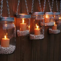 The Country Barrel — Set of 8 Mason Jar Luminaries - Silver Chain