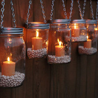 The Country Barrel  Set of 8 Mason Jar Luminaries - Silver Chain
