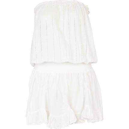 White broderie anglaise bandeau mini dress