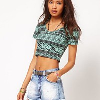 ASOS Crop Top in Abstract Print at asos.com