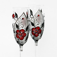 Champagne Flutes Hand Painted Red Black Siver