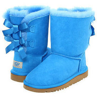 NEW UGG Australia Bailey Button Bow Youth Blue Sky Kids Size 6 Womens 8