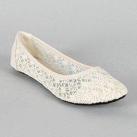 Spot-3 Lace Round Toe Ballet Flat
