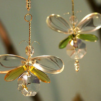 Crystal &amp; Glass Butterfly Hanging Mobile / by bytheartisan on Etsy