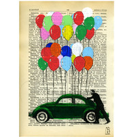 Art Beetle Bug Car - Illustration Dictionary Mixed Media Hand Painted
