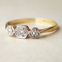 Art Deco Diamond Honeycomb Ring, 18k Gold & Platinum Geometric Diamond Ring, Antique Diamond Engagement Ring, Approximate Size US 6