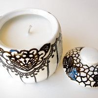 Soy candle  hand painted lace jar  black and white  by oneeyeddog