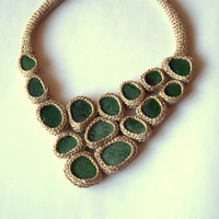 Beige  necklace with 15 green sea glass  crochet  by astash