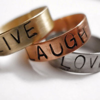 Live Love Laugh Stamped Mixed Metal Ring Set by dweebishdelights