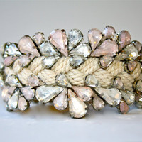 Crystal Sailors Rope Cuff - Natural with Blush Tones (and vintage fisherman's buckle closure)