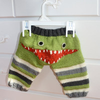 $49.00 Hand Knit Monster Leggings for Baby by ricesbeans on Etsy