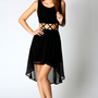Heather Criss Cross Cutout Chiffon Mixi Dress