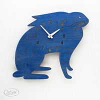 "The ""Mamma Blue Hare"" designer wall mounted clock from LeLuni"