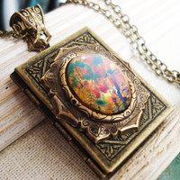 Banned Book fire opal cabochon on filigree antique lace by zipluxe